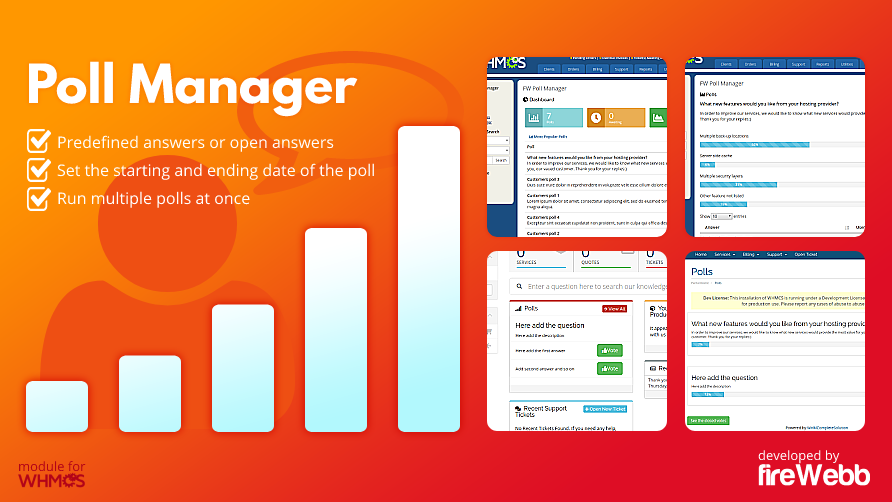 FireWebb Poll Manager module for whmcs